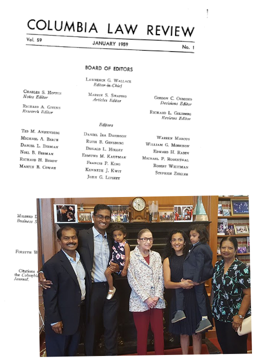 Left: The masthead of the Columbia Law Review, Vol. 59 (1959). Right: Justice Ginsburg with Arun Subramanian (Clerk, 2006/2007) and his family.