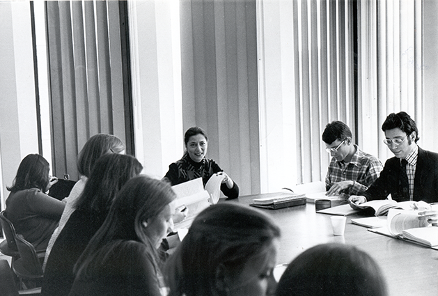 1970s: Ginsburg teaches the first sex discrimination law seminar at Columbia Law School. Students in the class often assisted Ginsburg on cases she argued on behalf of the ACLU Women's Rights Project before the U.S. Supreme Court. Courtesy Columbia Law School.