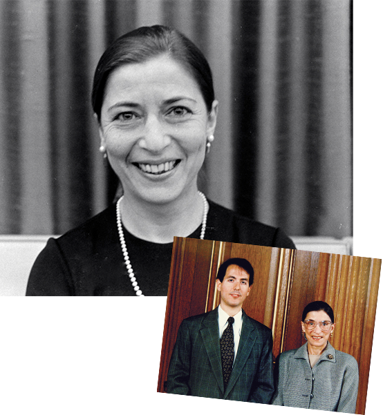 Top: 1972: Ginsburg at Columbia. Courtesy Columbia Law School. Bottom: Justice Ginsburg with Professor David M. Schizer (Clerk, 1994/1995).