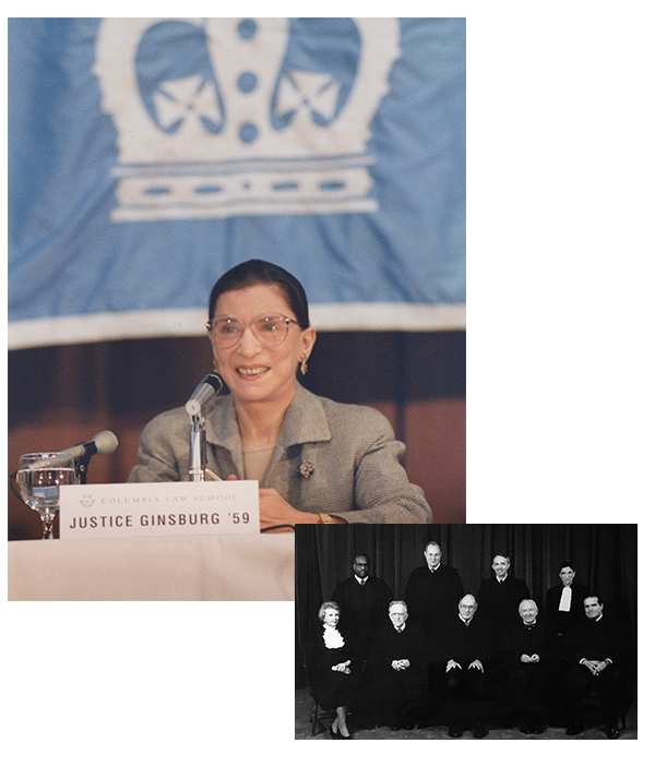 Top: 1993: Ruth Bader Ginsburg Day at Columbia Law School on November 19 is a celebration of the newly appointed Supreme Court Justice. Courtesy Columbia Law School. Bottom: 1993: Group photo of the nine Justices for the 1993/1994 Term.