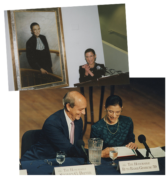 "Top: 2001: Justice Ginsburg delights at the unveiling of her official Columbia Law School portrait, painted by Constance P. Beaty. Courtesy Columbia Law School. Bottom: 2001: Justice Ginsburg and her Supreme Court colleague Justice Stephen G. Breyer participate in a panel, ""The Great Law School: Changing the Law Through Legal Education and Scholarship,"" at Columbia Law School. Courtesy Columbia Law School"